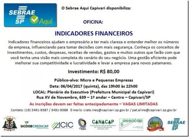 Sebrae oferece palestra sobre indicadores financeiros em Capivari